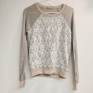 Olivia Moon Raglan Lace Gray Sweatshirt